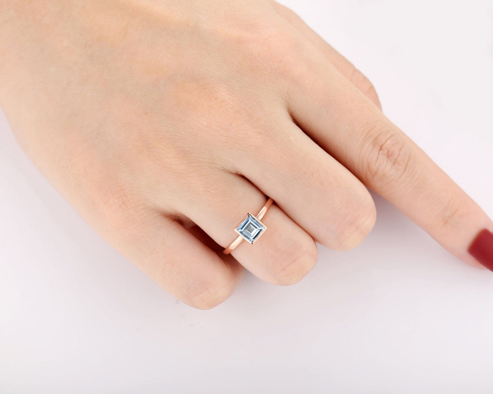 Solitaire Classic Style Wedding Ring, 1.0CT Asscher Cut Natural Aquamarine Ring