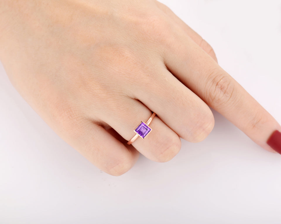 Solitaire Engagement Ring, 1.0CT Asscher Cut Natural Amethyst Ring