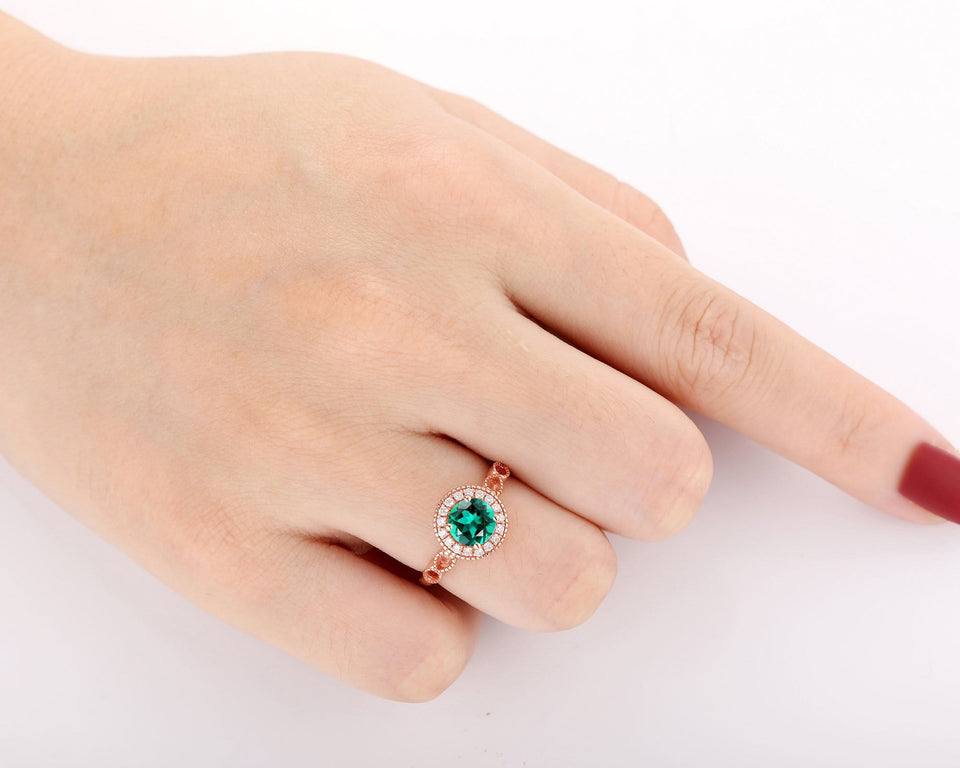 Halo Brilliant Moissanite Ring, 6.5mm Round Cut Lab Created Emerald Wedding Ring
