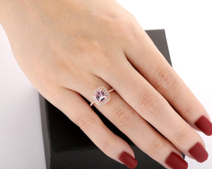 Gifts For Lover, 1.7CT Cushion Cut Natural Morganite Engagement Ring