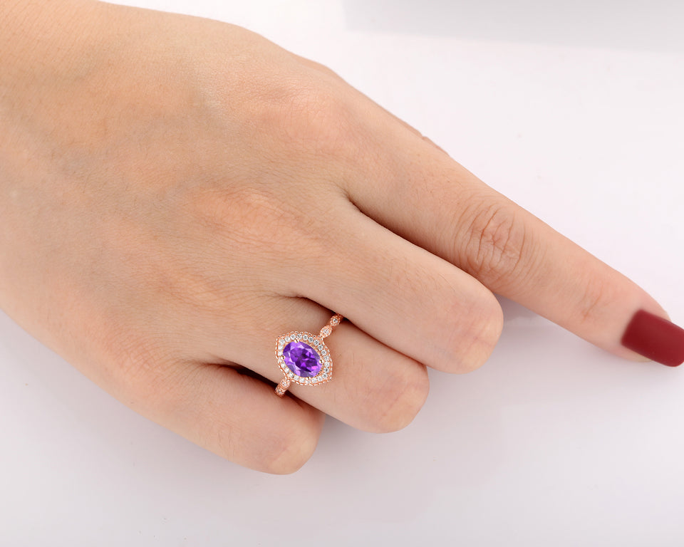 Halo Moissanite Ring, 6x8mm Oval Cut Natural Amethyst Birthstone Ring
