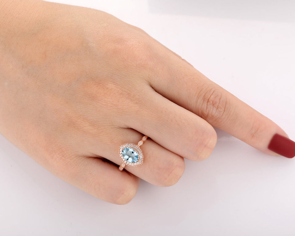 Brilliant Moissanite  Accents Wedding Ring, 1.5CT Oval Cut Natural Aquamarine Ring