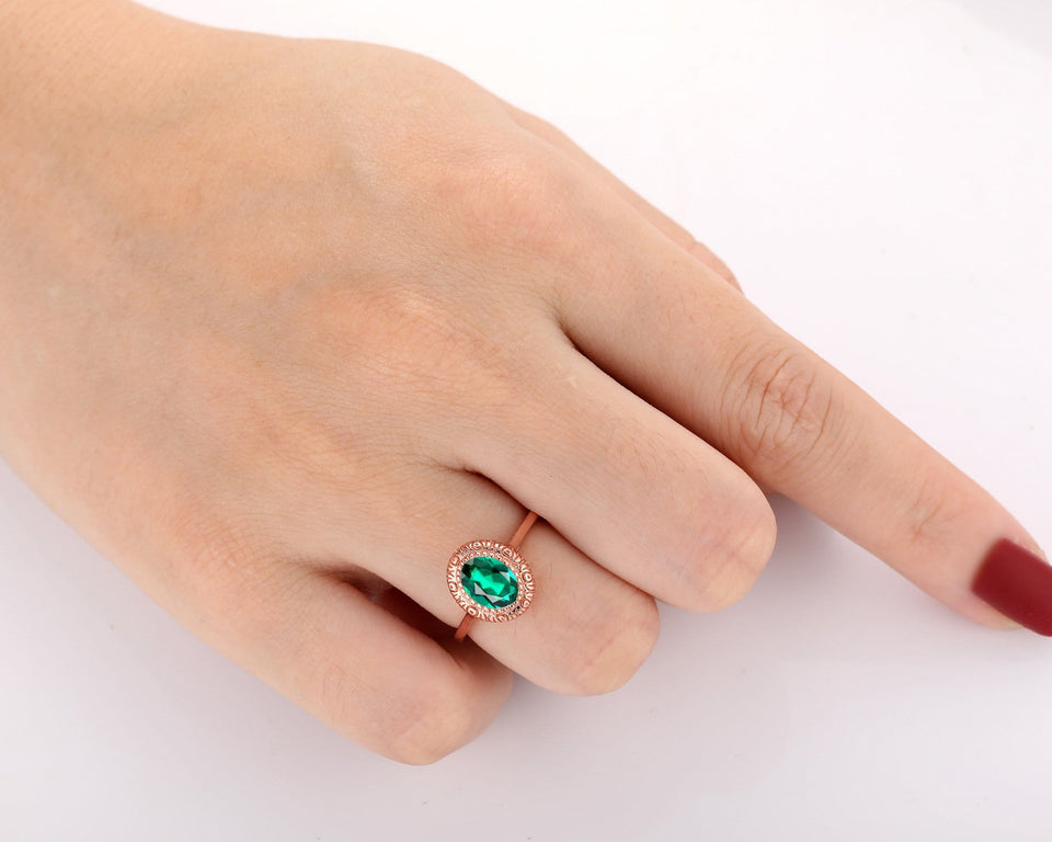 Classic Wedding Ring, Oval Cut 6x8mm Lab Created Emerald Ring