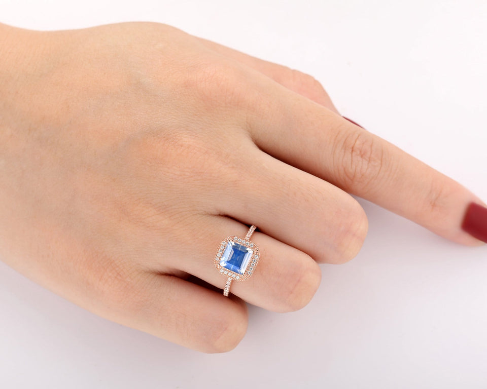 Women Bridal Jewelry, 2.0CT Asscher Cut Natural Rainbow Moonstone Wedding Ring