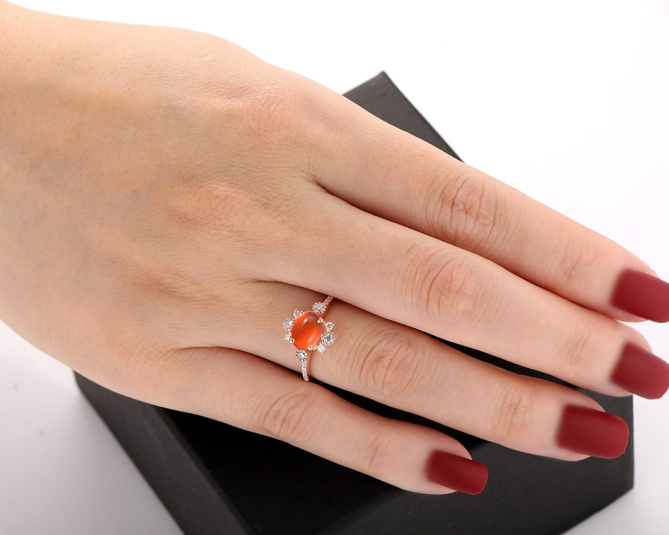 Brilliant Moissanite Accents Wedding Ring, 6x8mm Oval Shape Natural Mexican Fire Opal Ring