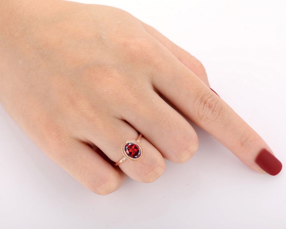 Moissanite Accents Ring, 7x9mm Oval Cut Natural Red Garnet Anniversary Ring