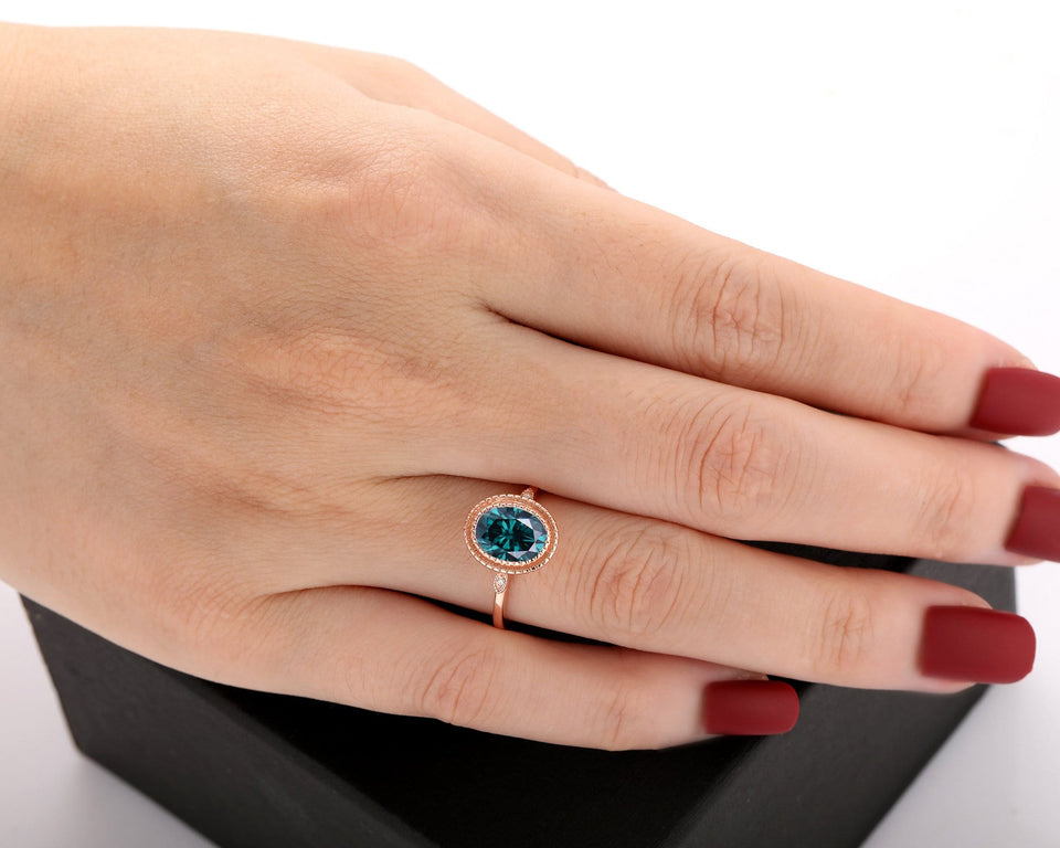 Art Deco Ring, 2.1CT Oval Cut Blue Moissanite Wedding Ring, Birthday Gift