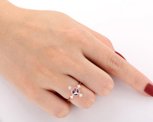 Vintage Style Gemstone Ring, Excellent 6x6mm Cushion Cut Natural Morganite Ring