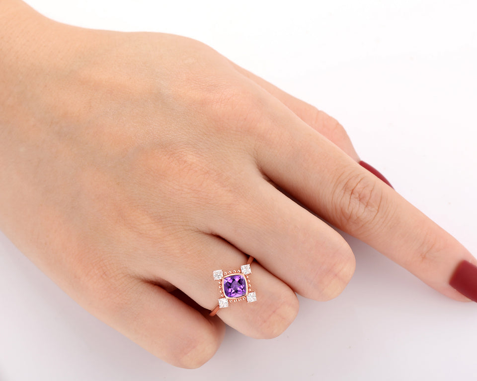 Antique Milgrain Ring, 1.1CT Cushion Cut Natural Amethyst Ring