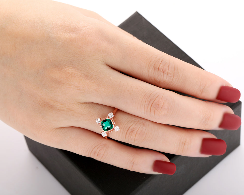 Colorless Moissanite Bridal Ring, 1.1CT Cushion Cut 6x6mm Lab Created Emerald Ring