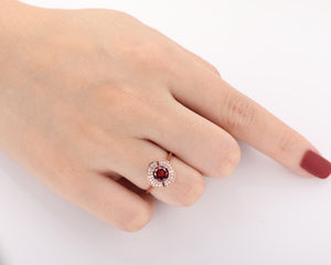 Halo Birthstone Ring, Antique 1.0CT Round Cut Natural Red Garnet Gemstone Ring