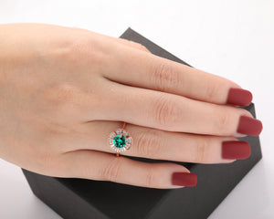 Floral Halo Moissanite Engagement Ring, 1.0CT Round Cut Lab Created Emerald Ring