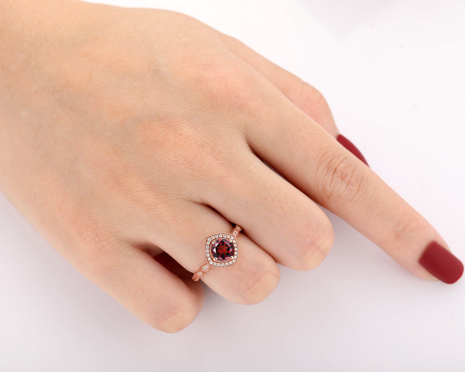 Solid 14k Gold Halo Moissanite Ring, 6.5mm Round Cut Natural Red Garnet Wedding Ring