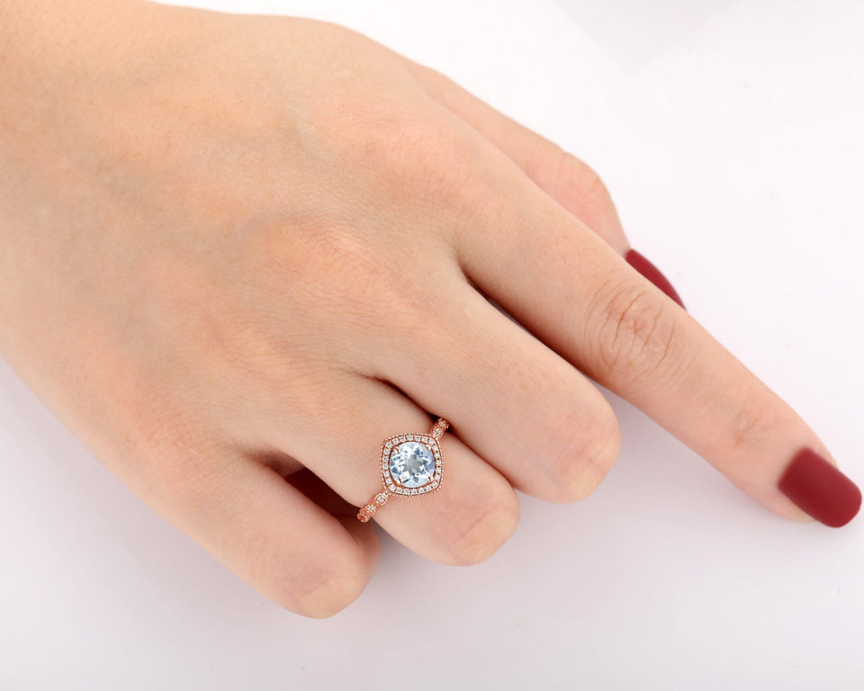 Handmade Jewelry, 1.0CT Round Cut Natural Aquamarine Ring, Wedding Ring