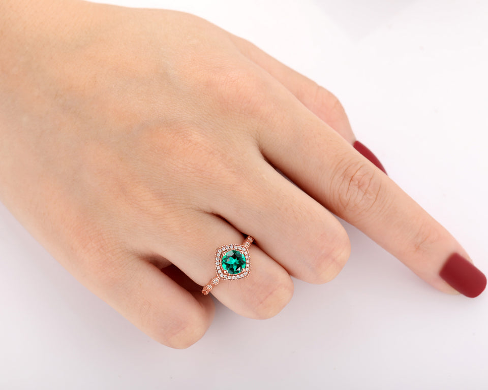 Halo Moissanite Ring, 6.5mm Round Cut Lab Created Emerald Half Eternity Ring