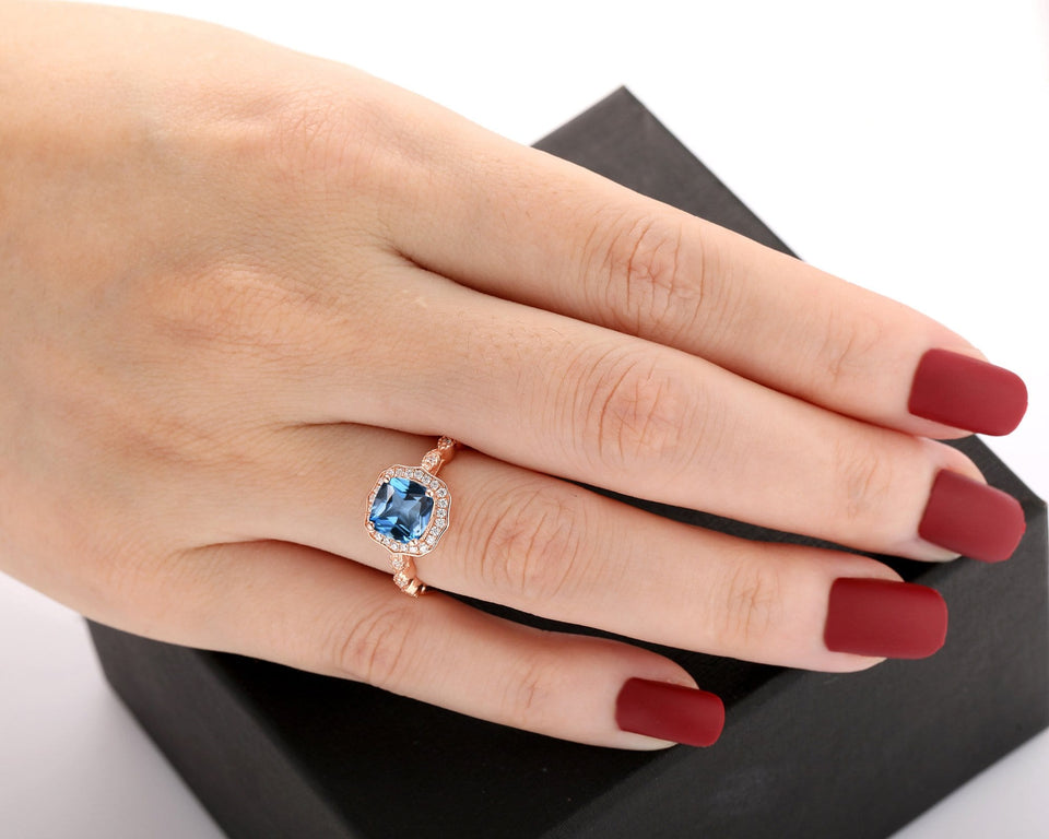 Accents Moissanite Ring, 7x7mm Cushion Cut Natural London Blue Topaz Wedding Ring