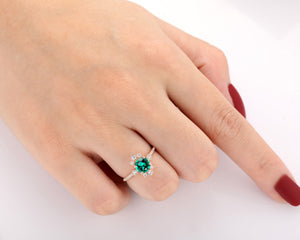 Half Eternity Promise Ring, 1.0CT Round Cut Lab Created Emerald Ring