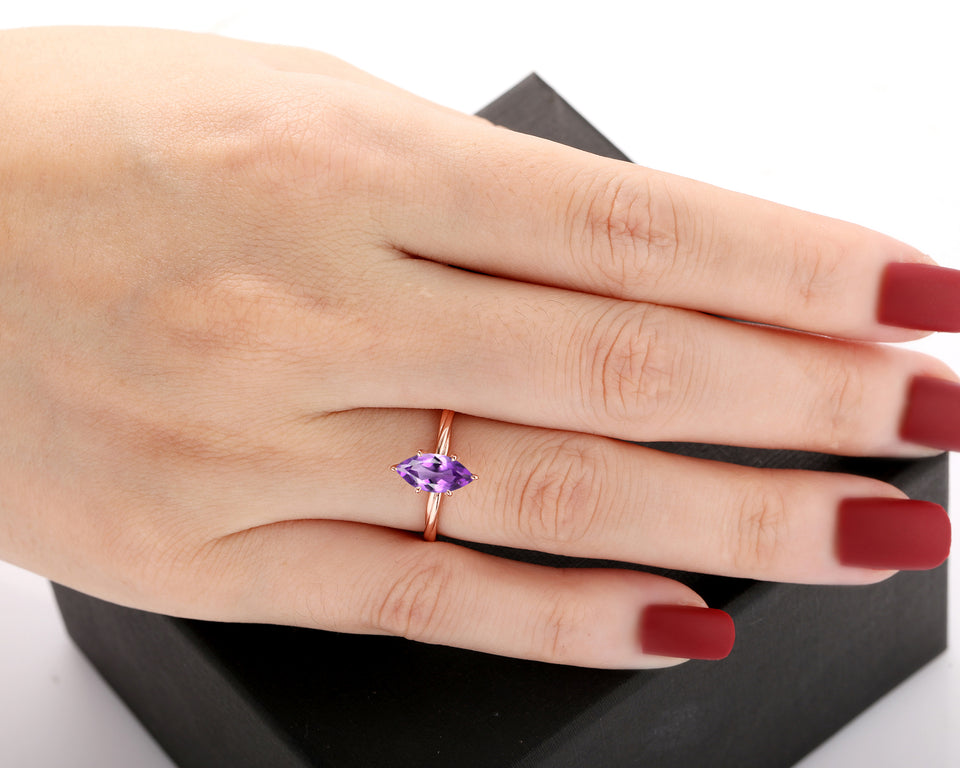 Unique Rope Twist Design Ring, 1.0CT Marquise Cut Natural Amethyst Ring