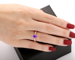 Half Eternity Engagement Ring, 6x8mm Oval Cut Natural Amethyst Ring