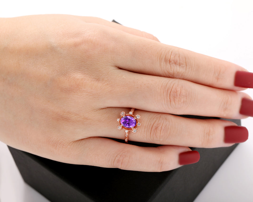 Brilliant Moissanite Ring, 1.5CT Oval Cut 6x8mm Natural Amethyst Bridal Ring