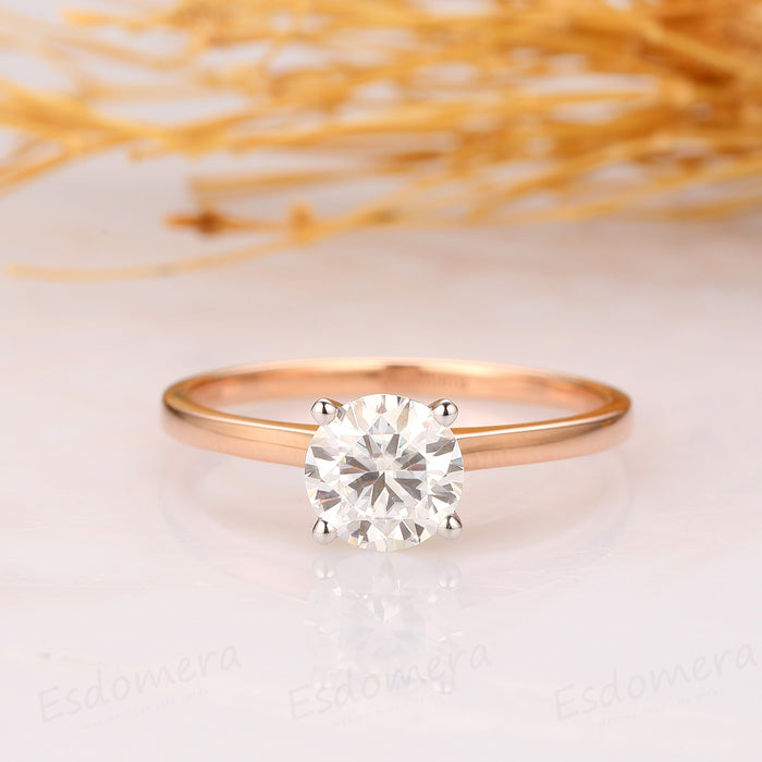 1CT Moissanite Round Cut Engagement Ring, 4-Prongs Ring, 14k Two Tone Gold Ring