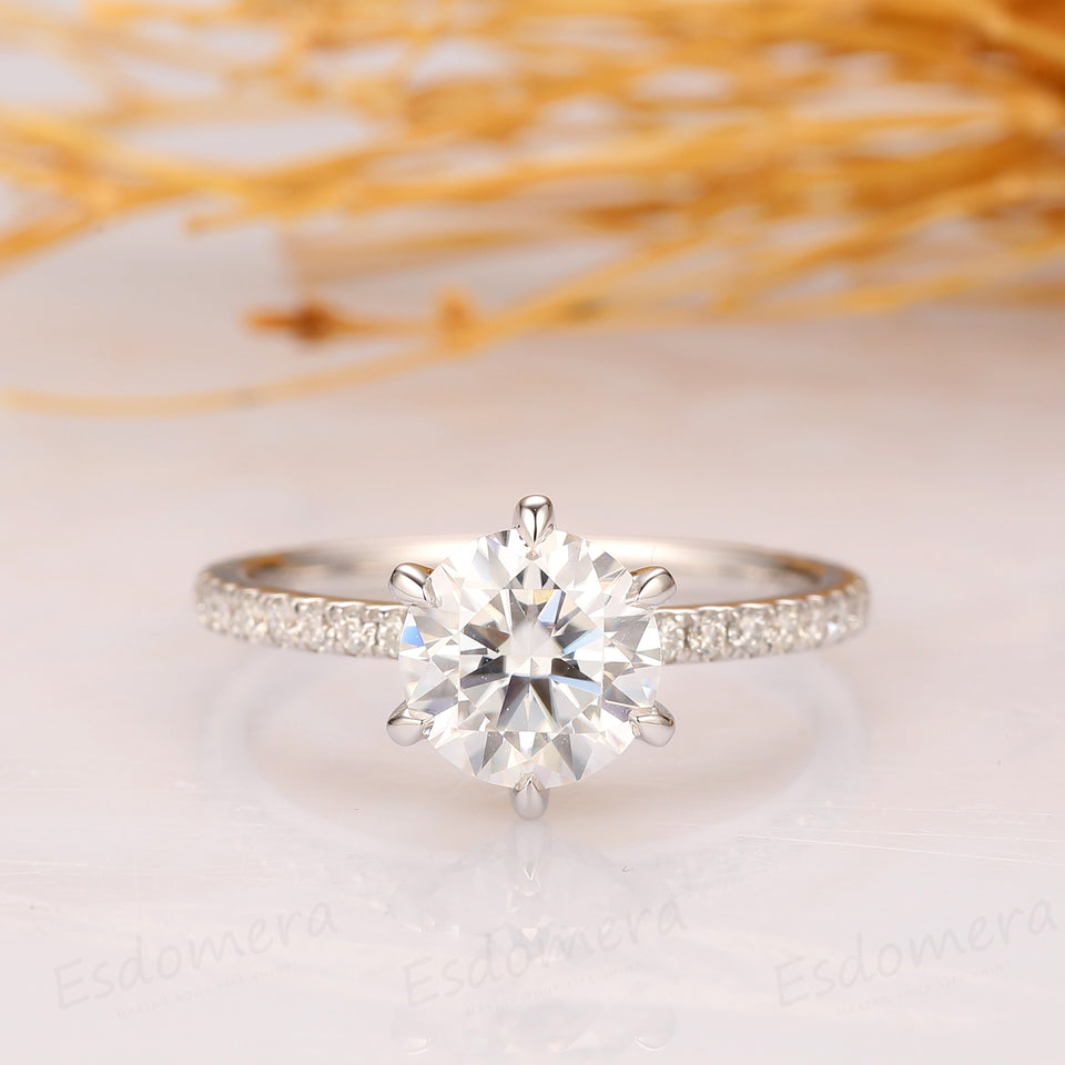 1.25CT Round Cut Moissanite Ring, Hidden Halo, 3/4 Pave Set Eternity Ring, 14k White Gold Ring