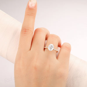 2.1CT Oval Cut Hidden Halo Ring, 4 Prongs Ring, Full Twist Band with Half Eternity Moissanite
