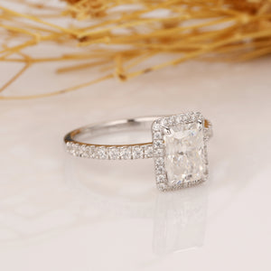 925 Sterling Silver -  Radiant Cut 5x7mm Halo Moissanite Engagement Ring