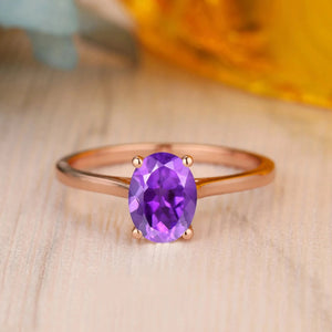 925 Sterling Silver - Minimalist 1.5CT Oval Cut 6x8mm Natural Amethyst Ring
