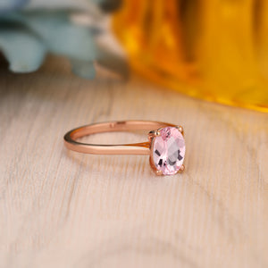 925 Sterling Silver - Classic 1.5CT Oval Cut Morganite Ring