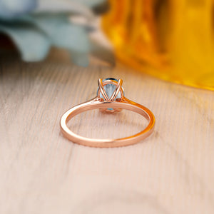 925 Sterling Silver - Dainty 1.5CT Oval Cut Natural Aquamarine Ring