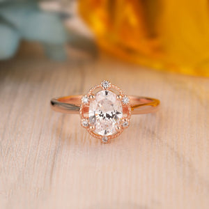 925 Sterling Silver - Oval Cut 6x8mm Moissanite Halo Engagement Ring