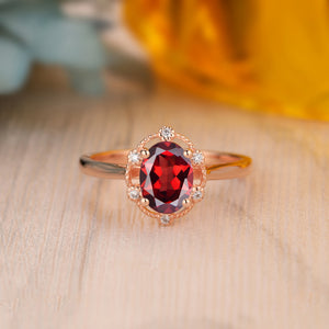 925 Sterling Silver - Prong Set 1.5CT Oval Cut Natural Red Garnet Ring