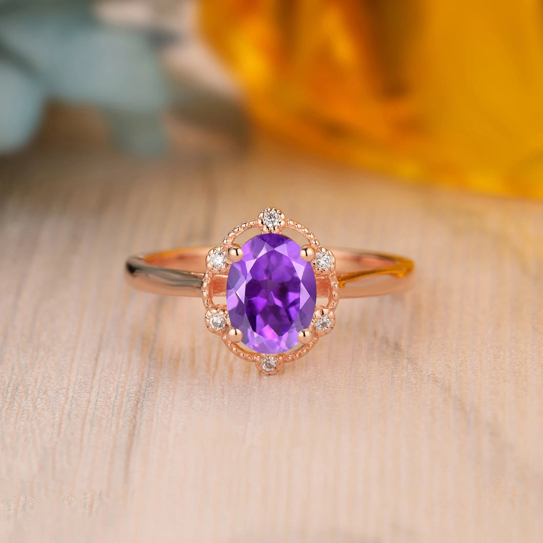 925 Sterling Silver - Dainty Oval Cut 6x8mm Natural Amethyst Bridal Ring