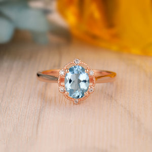 925 Sterling Silver - Special Design 1.5CT Oval Cut Natural Aquamarine Ring
