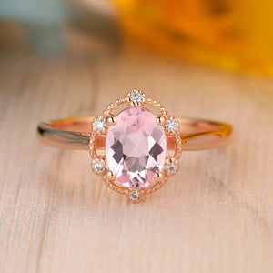 925 Sterling Silver - 1.5CT Oval Cut 6x8mm Natural Pink Morganite Ring
