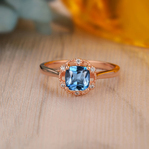 925 Sterling Silver - Art Deco 6x6mm Cushion Cut Natural London Blue Topaz Ring