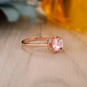 925 Sterling Silver - Gorgeous 1.1CT Cushion Cut Genuine Morganite Ring