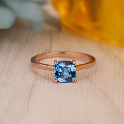 925 Sterling Silver - Antique 6.5mm Cushion Cut Natural London Blue Topaz Ring, Birthstone Ring