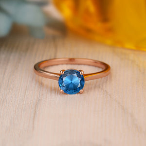 Sterling Silver - 6.5mm Round Cut Natural London Blue Topaz Ring, Wedding Anniversary Ring For Her