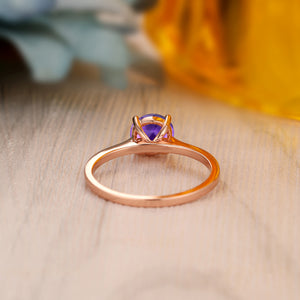 925 Sterling Silver - Solitaire Round Cut 6.5mm Natural Amethyst Gemstone Ring