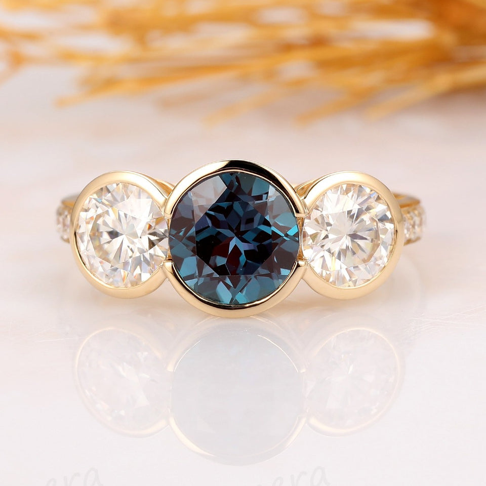 1.5CT Round Cut Alexandrite Engagement Ring, 14k Solid Yellow Gold Ring