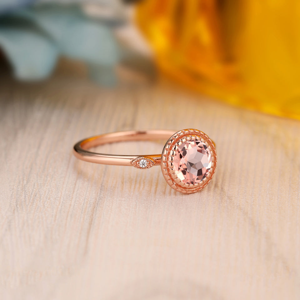 925 Sterling Silver - Art Deco 1.0CT Round Cut Natural Morganite Promise Ring