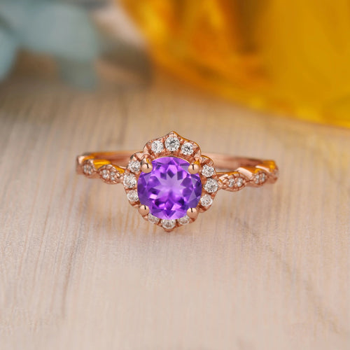 925 Sterling Silver - 1.0CT Round Cut Natural Amethyst Halo Ring For Her