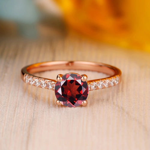 925 Sterling Silver - Dainty 6.5mm Round Cut Natural Red Garnet Ring