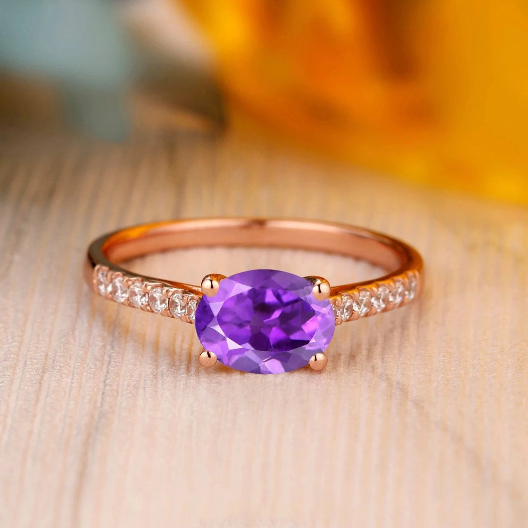 925 Sterling Silver - Vintage 1.5CT Oval Cut Natural Amethyst Anniversary Ring