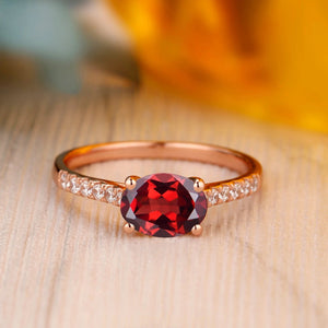 925 Sterling Silver - Handmade 1.5CT Oval Cut Natural Red Garnet Ring