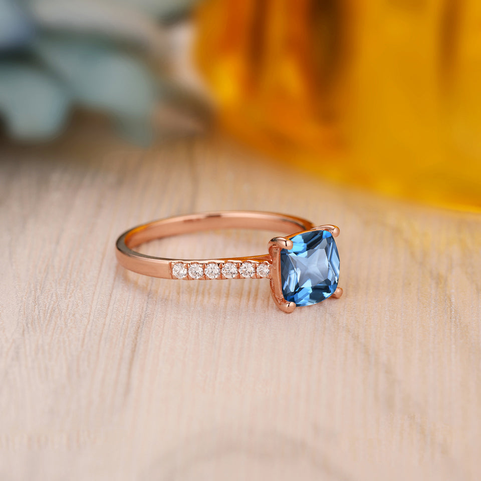 925 Sterling Silver - 7mm Cushion Cut Natural London Blue Topaz Ring, Handmade Fine Jewelry