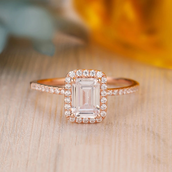 925 Sterling Silver - Emerald Cut 5x7mm Moissanite Halo Engagement Ring