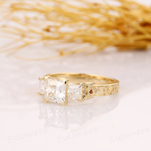 Antique Filigree Accent 3 Stone Princess Cut 1.3CT Moissanite Ring